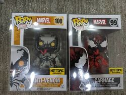 Funko Pop Marvel Anti Venom 100 And Carnage 99 Hot Topic Exclusives