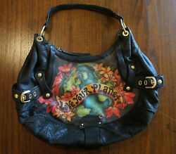 Isabella Fiore LOVE YOUR PLANET Angie Hobo BLACK LEATHER BAG $100.00