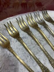 Wallace. Sterling 7 Cocktail Forks Gold Vermeil Sir Christopher