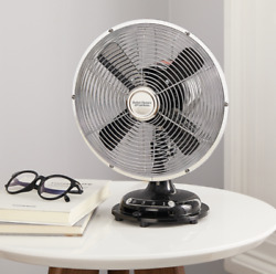 Metal Table Fan Retro Vintage 3 Speed Desk Oscillating Personal Air Cooler 8