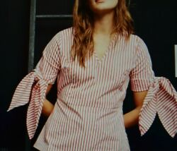 Universal Standard J Crew Tie Accent Sleeves Red/white Stripe Blouse Size Xs