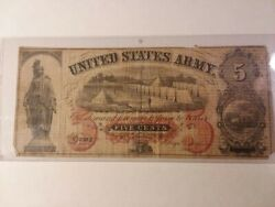 United States Army Sutler Civil War Five Cents 5andcent Obsolete Banknote Us Army Note