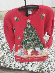 Vintage Red Christmas Tree Sweater Heirloom Collectibles 1998 Cardigan Size L