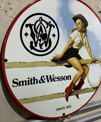 Smith And Wesson Pin Up Vintage Style Oil 2 Lbs Enamel Porcelain Gas Sign