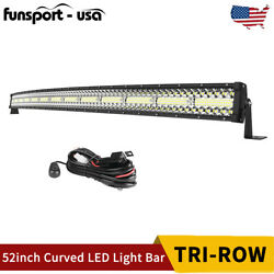 52inch 1250w Curved Led Light Bar Tri-row Combo Offroad Roof Andwire For Truck Atv