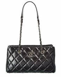 Chanel Black Quilted Calfskin Leather Chain Satchel Women#x27;s $2500.00