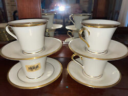 4 Sets Of Lenox Eternal Footed Tea Cups And Saucers Never Used New Bone