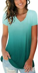 Womens Summer Tie Dye Short Sleeve T Shirts V Neck Ombre Tops