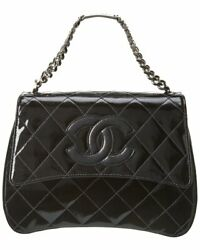 Black Quilted Patent Leather Id Bracelet Single Flap Handbag Womenand039s