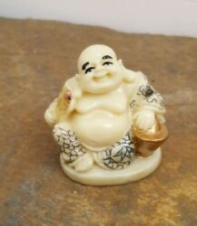 Happy Buddha With Fan And Pot Of Gold Japanese Netsuke Resin Figurine Not Ivory