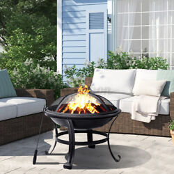 22 Inch Wood Burning Fire Pit Round Outdoor Backyard Patio With Mesh Spar