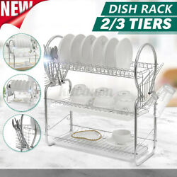 3 Tiers Kitchen Dish Plate Drying Rack Drainer Kitchen Storage With Cups
