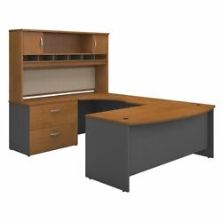 Scranton And Co Furniture 72w Left Hand Bow Front U Desk Set In Natural Cherry