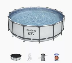 Bestway 15and039 X 42 Round Steel Pro Max Above Ground Swimming Pool Set With Pump