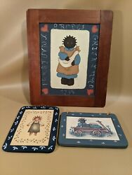 Lot Of 3 Black Americana African American Wooden Children's Hanging Pictures