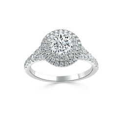 1.40 Ct Real Diamond Engagement Solitaire Ring 14k White Gold Size 6 7.5 8 9