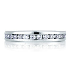 Round Cut 0.90 Ct Natural Diamond Wedding Ring 18k Solid White Gold Size 5 6 7 8