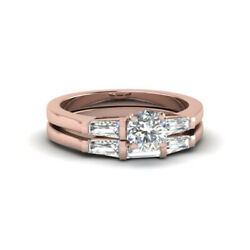 Round Cut 1.00 Ct Real Diamond Bridal Band Set 14k Solid Rose Gold Size 6 7 8 9