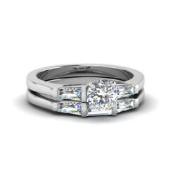 Round Cut 1.00 Ct Real Diamond Bridal Band Sets 14k Solid White Gold Size 6 7 8