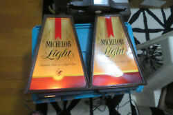 Pair Vintage Authentic Original 1979 Michelob Light Lighted Sign By Kribs Works