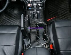 Real Carbon Fiber Console Water Cup Holder Cover Trim For Ford Mustang 2015-2021