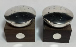 Pair Of Spratling Sterling Silver And Wood Disk Salt And Pepper Shakers