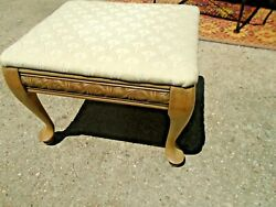 Antique Claw Queen Anne Style Carved Solid Oak Stool Bench Footstool 10 Tall