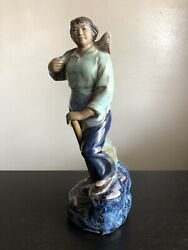 Vintage Chinese Cultural Revolution Shiwan Pottery Figure Farmer Worker Lady