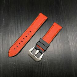 New 24mm Rubber Tang Strap Diver Watch Band For Orange And Black