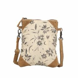 Myra Upcycled Floral Flare Tapestry and Canvas Crossbody Bag Purse