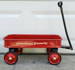 Vintage 1950s American Beauty Small Red White And Black Child's Pull Wagon Nice
