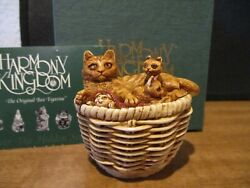 Harmony Kingdom Cat's Cradle Cat In Basket With Kittens Uk Made Box Figurine 18