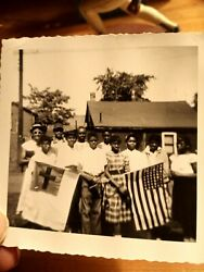 Rare African Americans Holding A American Flag An A Rare White Red Cross Flag