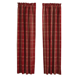 New Primitive Farmhouse Country Barn Red And Cream Plaid Panels Drapes Curtain 84