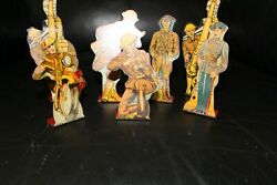 Vintage Lot Of 7 Marx Tin Toy Soldiers Military Litho