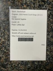 2020 Court Kings Lamelo Ball Heir Apparent Sapphire Rookie Auto /25 Redemption