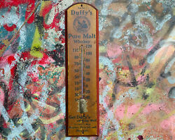 Duffyand039s Pure Malt Whiskey Thermometer Advertising Sign Druggist Brewery Antique