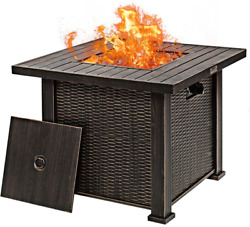 Outdoor Fire Pit Table Bronze Lava Rocks Patio Heater Lid Concealed Lp Tank 30