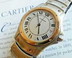 Luxury S/s And 18k Gold Santos Ronde 1910 Swiss Automatic 33 Mm Watch Runs