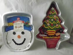 Wilton Snowman Head And Christmas Tree Cake Pan Set Of 2 Preowned - Used Once