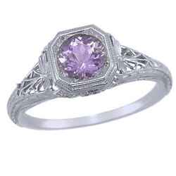 Vintage Filigree Lab-created Round Amethyst Ring In 14k Solid White Gold