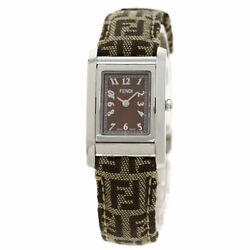 Fendi Zucca Pattern Loop Turn Face Watches 7600l Stainless Steel/leather Ladies