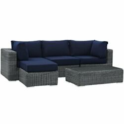 Modway Summon 5 Piece Patio Sectional Set In Canvas Navy