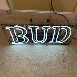 Old Budweiser Bud Neon Sign, Very Old Partly Works Needs Repair