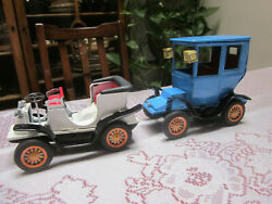 Lot 2 Vintage Bandai Tin Friction Litho Cars Very Good Condition