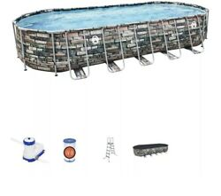 Coleman 26 Ft X 12 Ft X 52 In Power Steel Oval Swimming Pool Set W/ Pump And Cover
