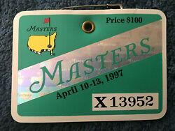 1997 Masters Badge Ticket Augusta National Golf Pga Tiger Woods 1 Win Very Rare