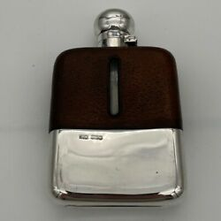 20th Century Modern Sterling Silver And Glass Hip Flask Sheffield 1937james Dixon