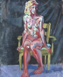 Large Abstracted Seated Nude - Original Oil Painting By Tx Artist Melissa Grimes