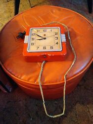 Vintage Red General Electric Metal Kitchen Clock Square Wall Mid Century